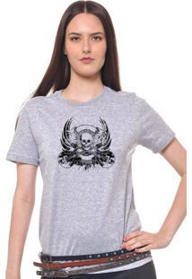 Camiseta Feminina Joss Caveira Rock Cinza