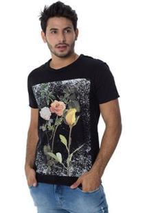 Camiseta Osmoze Flower 40 Dupla Face 110112743 Preto - Preto - Pp - Feminino-Preto