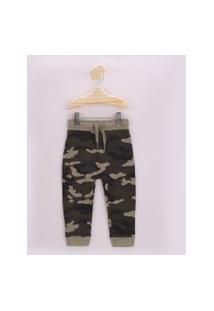 Calça De Moletom Infantil Estampada Camuflada Com Cordão Verde Militar