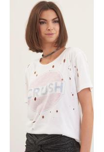 Camiseta John John Crush Malha Off White Feminina (Off White, P)