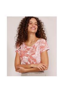 Camiseta Feminina Estampada Manga Curta De Folhagem Decote Redondo Off White
