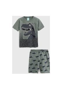Pijama Kyly Curto Infantil Dinossauro Verde