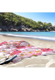Toalha De Praia / Banho Flamingos Pink Poá