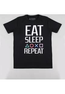 """Camiseta Infantil Playstation """"Eat Sleep Repeat"""" Manga Curta Preta"""