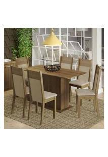 Conjunto Sala De Jantar Madesa Catarina Mesa Tampo De Madeira Com 6 Cadeiras Rustic/Crema/Pérola
