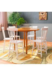 Conjunto De Mesa Com 6 Cadeiras Dalas Marrom E Branco