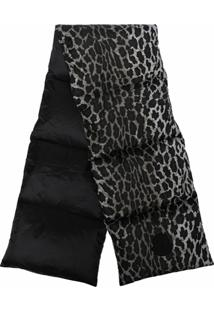 Moncler Cachecol Matelassê Com Estampa De Leopardo - Cinza
