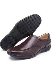 Sapato Gh Calcados Elastico Conforto Masculino - Masculino-Café