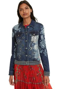 Jaqueta Jeans Desigual Estampada Azul