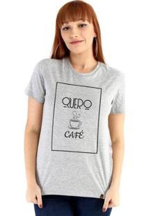 Baby Look Ouroboros Manga Curta Quero Café - Feminino-Cinza
