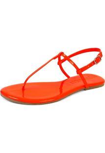 Sandã¡Lia Rasteira Mercedita Shoes Verniz Laranja Cenoura Ultra Macia - Laranja - Feminino - Dafiti