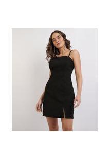 Vestido Feminino Mindset Curto Alças Finas Com Fenda Preto