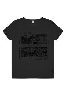 T- Shirt Feminina Estampa Onça Rovitex Preto