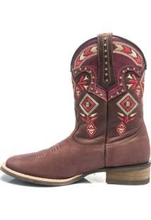 35f710a33 Bota Texana Feminina - Dallas Bordo   Pink - Roper - Bico Quadrado - Cano  Medio