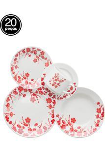 Aparelho De Jantar E Chá Oxford Biona Donna Jardim Oriental 20 Pçs Branco/Vermelho