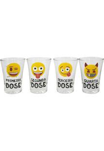 Conjunto De 4 Copos Shot Em Vidro 60 Ml Emoji