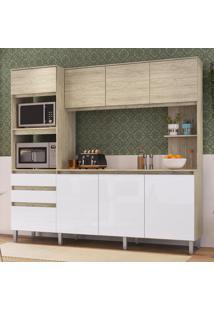 Cozinha Compacta 8 Portas 2 Gavetas Canela Malbec/Branco - Decibal Móveis