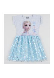 Vestido Infantil Elsa Frozen Com Brilho E Tule Azul