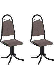Conjunto Com 2 Cadeiras Sydney Marrom E Preto