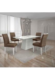 Conjunto De Mesa Com 4 Cadeiras Pampulha I Branco E Marrom