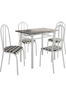 Conjunto De Mesa Genebra C/ 4 Cadeiras Alicante Branco Fabone Móveis