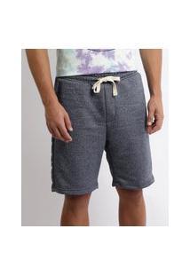 Bermuda Jeans Masculina De Moletom Relaxed Com Bolsos Azul Médio
