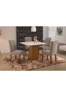 Conjunto De Mesa De Jantar Com 4 Cadeiras E Tampo De Madeira Maciça Turquia V Suede Cinza E Off White