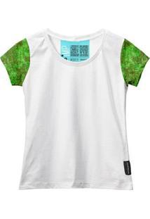 Camiseta Baby Look Feminina Algodão Estampa Militar Estilo - Feminino-Branco+Verde