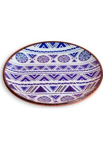 Prato De Sobremesa Em Cerâmica Navajo 21Cm Azul