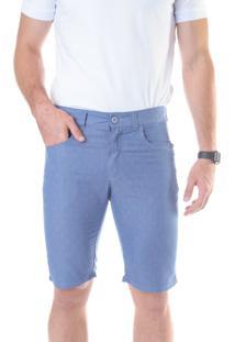 Bermuda Jeans Estampada Slim Amaciada Azul Claro Traymon 703