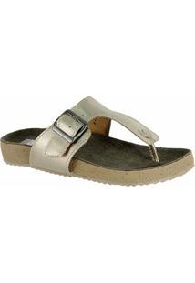 Rasteira Feminina Birks 212 Em Couro Metalizado Doctor Shoes - Feminino