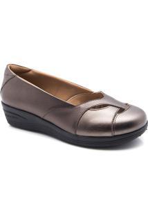 70fcad209 Sapato Feminino Anabela 194 Em Couro Metalizado Doctor Shoes - Feminino -Bronze