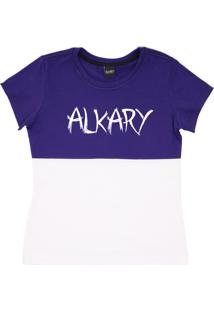 Camiseta Baby Look Alkary Com Recorte Roxa E Azul