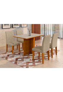 Conjunto De Mesa De Jantar Com Vidro E 4 Cadeiras Ane Suede Off White E Cinza