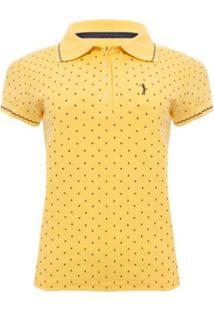Camisa Polo Aleatory Mini Print Super Feminina - Feminino-Amarelo