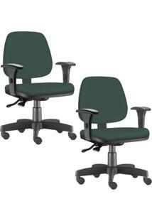 Kit 02 Cadeiras Giratórias Lyam Decor Job Verde Musgo