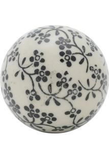Bola Decorativa Floral Preta E Branca 5,5X5,5X5,5
