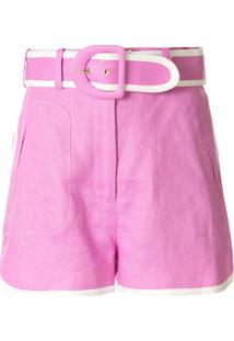 Zimmermann Short Cintura Alta Super Eight - Rosa