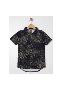 Camisa Manga Curta Estampada Juvenil Para Menino - Preto