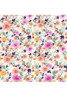 Papel De Parede Floral- Laranja & Azul Marinho- 300Xjmi Decor