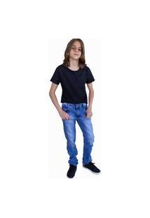 Calça Masculina Infanto Juvenil Tradicional Jeans Com Licra 2