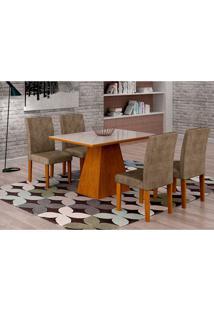 Conjunto De Mesa De Jantar Luna Com Vidro E 4 Cadeiras Ane I Suede Animalle Imbuia E Branco