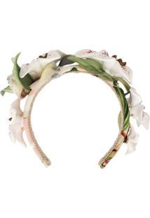 Dolce & Gabbana Tiara Com Aplicação Floral - Branco