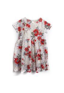 Vestido Fruteria Floral Branco/Vermelho