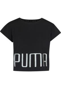 Camiseta Cropped Puma Explosive Tee Feminina - Infantil - Preto