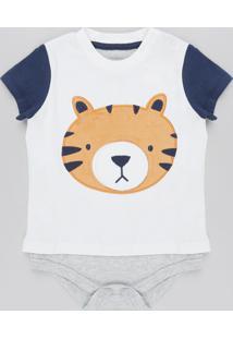 Body Infantil Tigre Manga Curta Azul Marinho