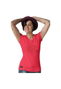 Camiseta Feminina Gola V Cellos Heart Premium Vermelho