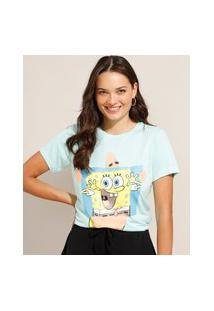 Camiseta Bob Esponja E Patrick Manga Curta Decote Redondo Azul Claro