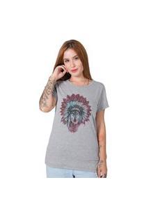 Camiseta Stoned Indian Wolf Cinza