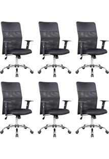 Conjunto Com 6 Cadeiras De Escritório Diretor Giratórias Com Braços Ajustáveis Vancouver Preta